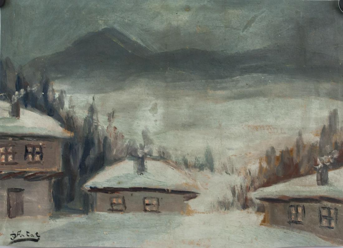 """Julian Fałat (1853-1929) """"Zimowy krajobraz"""", źródło: 888 Auctions"""