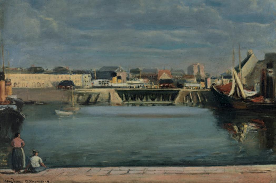 """Henryk Hayden (1883-1970) """"Port w Dieppe"""", źródło: Oger-Blanchet"""