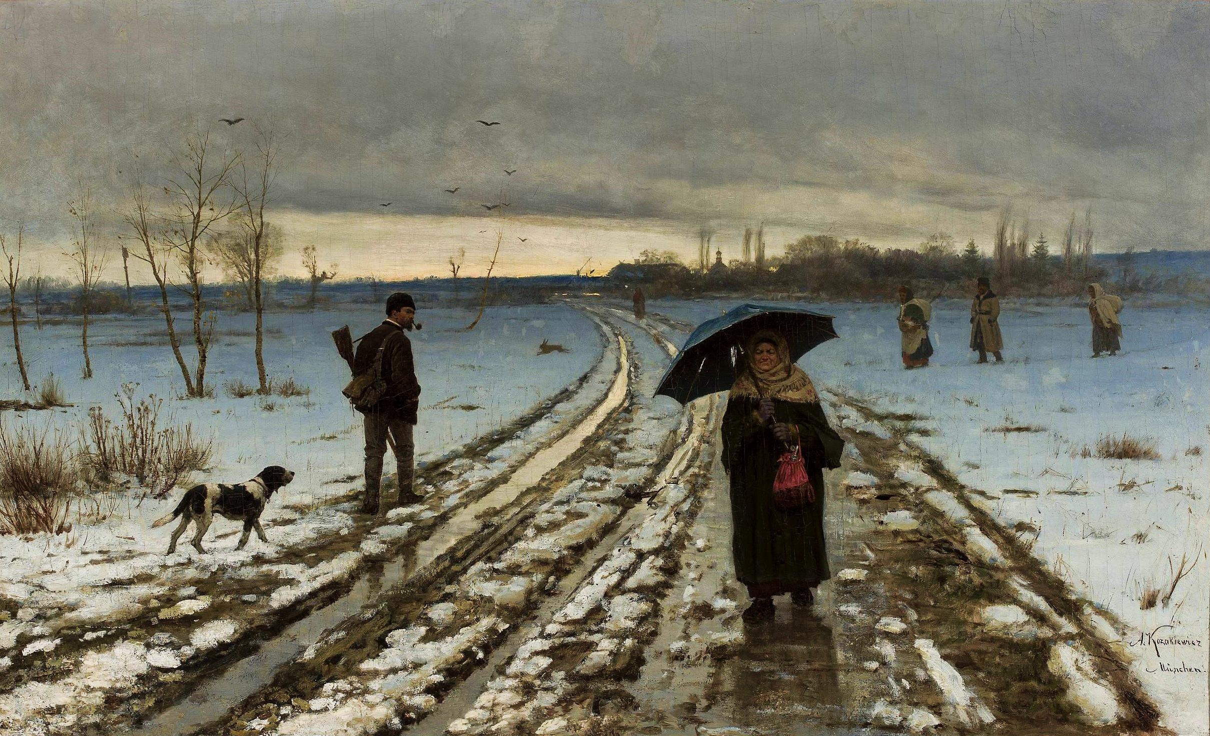 """Antoni Kozakiewicz (1841-1929) """"Na wiejskiej drodze"""", źródło: PR Collectibles"""