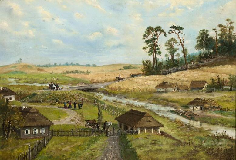 """Wilhelm Leopolski """"Przemarsz wojsk kościuszkowskich przez wieś"""", 1885 rok, źródło: Muzeum Narodowe w Warszawie"""