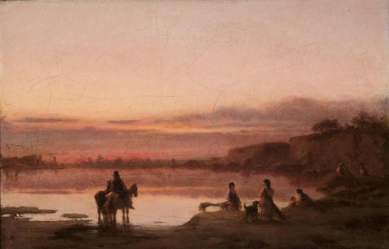 """Wilhelm Leopolski """"Pejzaż o zachodzie słońca"""", lata 1874-1875, źródło: Muzeum Narodowe w Warszawie"""