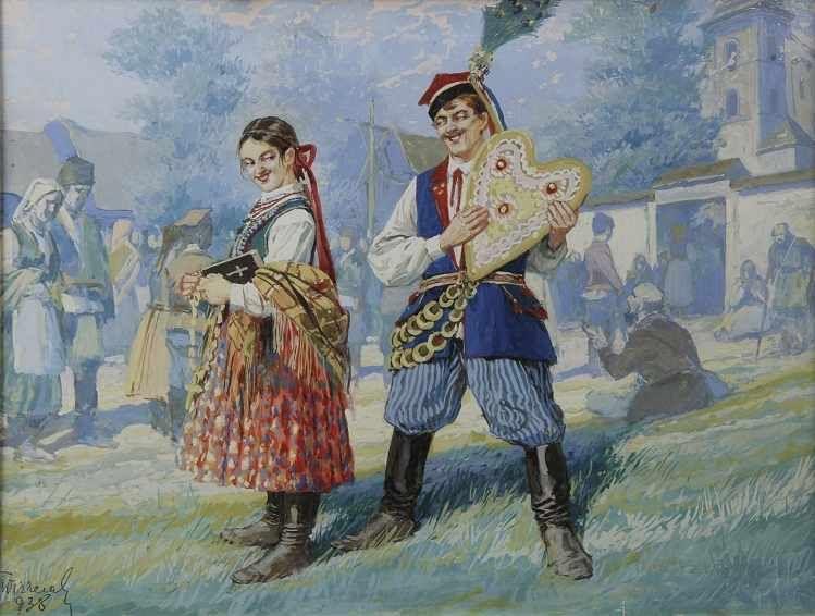 """Tadeusz Ajdukiewicz (1852-1916) """"Chłopiec grający na flecie"""", źródło: Auktionshaus OWL"""
