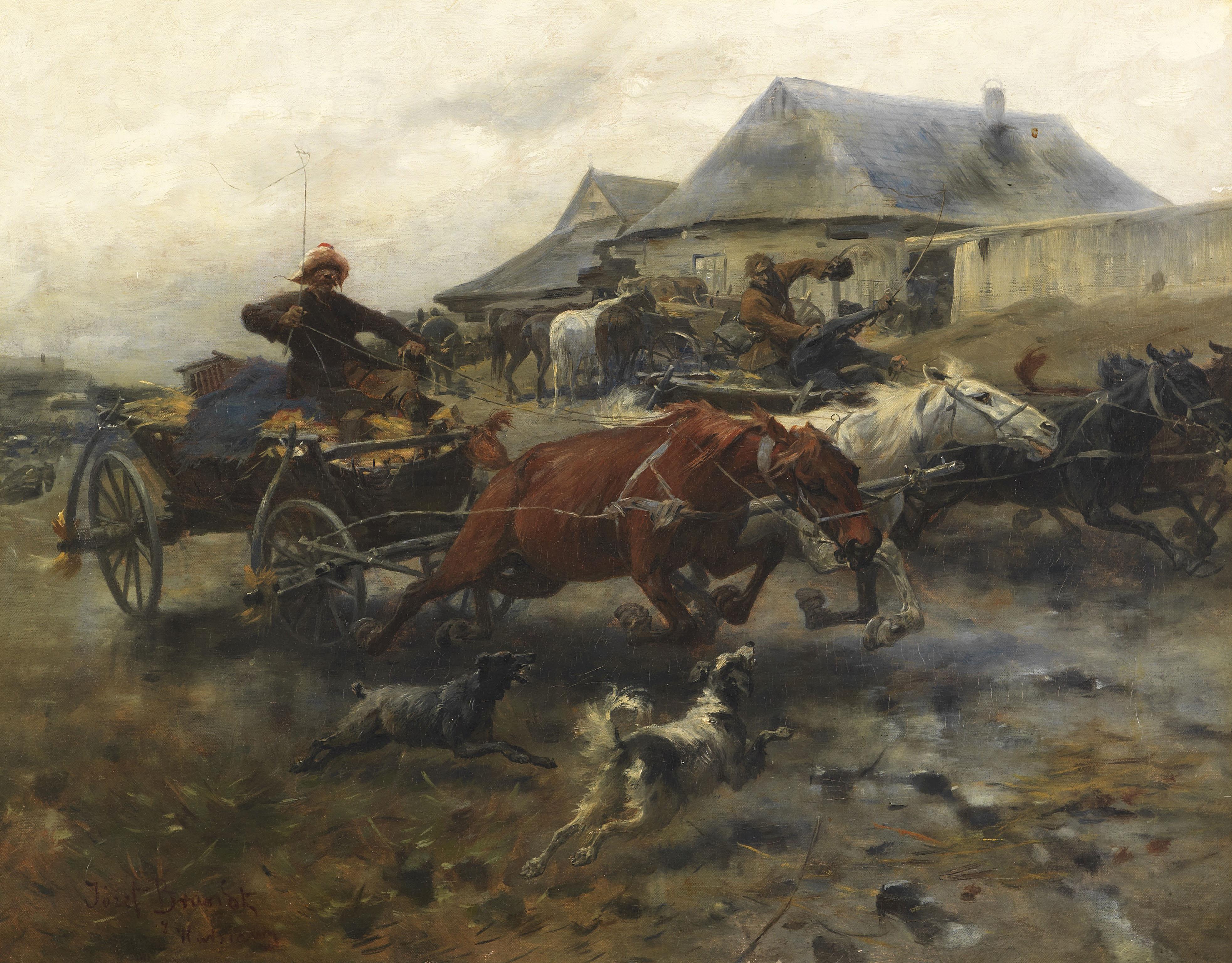 """Józef Brandt (1841-1915) """"Powrót z targu"""", źródło: Ketterer Kunst"""