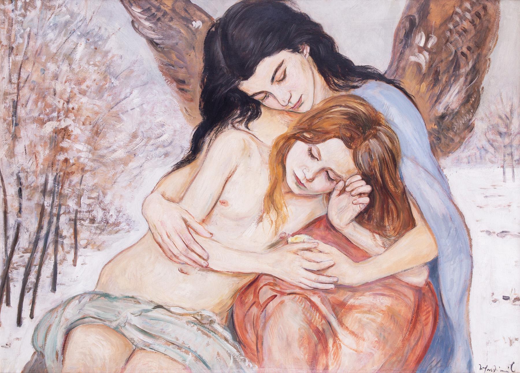 """Wlastimil Hofman """"Pod opieką anioła"""", lata 20. XX wieku, źródło: Salon Dzieł Sztuki Connaisseur"""