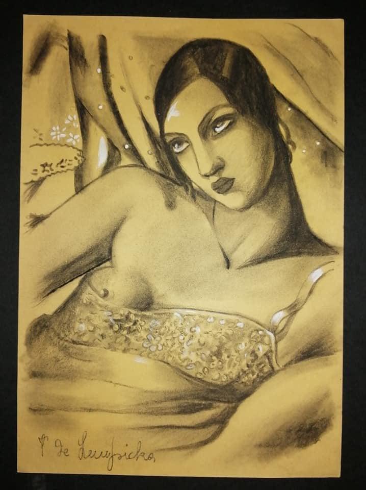 """Tamara Łempicka (1898-1980) """"Martwa natura z draperią i lilią w wazonie"""", źródło: International Art Auction Network"""