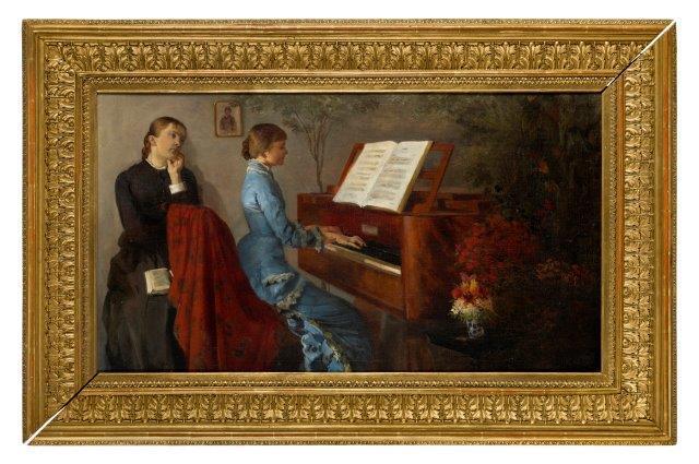 """Jacek Malczewski (1854-1929) """"Lekcja gry na pianinie"""", źródło: Rosberrys"""