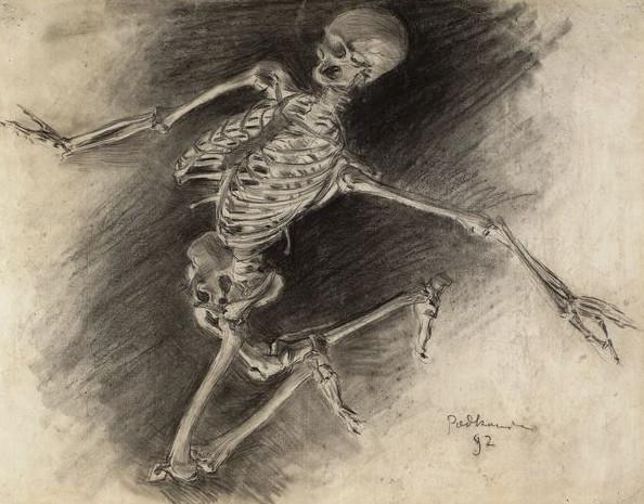 """Władysław Podkowiński """"Studium szkieletu"""", 1892 rok, źródło: Muzeum Narodowe w Warszawie"""