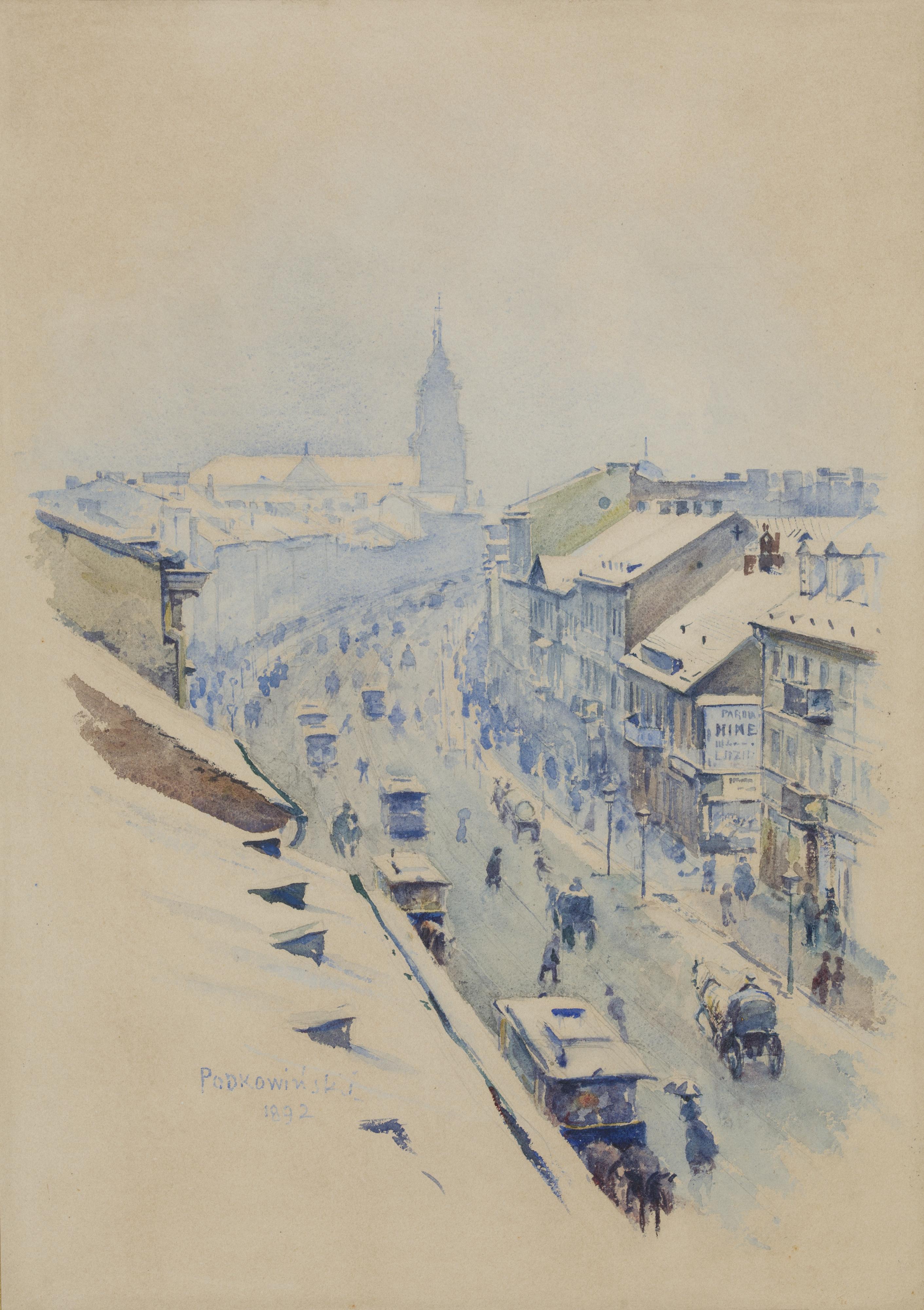"""Władysław Podkowiński """"Widok na Nowy Świat w Warszawie zimą"""", 1892 rok, źródło: Muzeum Narodowe w Krakowie"""