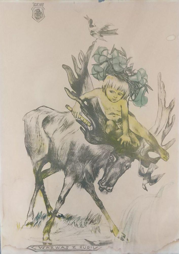 """Zofia Stryjeńska """"Warwas"""" z teki """"Bożki słowiańskie"""", 1918 rok, źródło: Antykwariat Kosmos"""