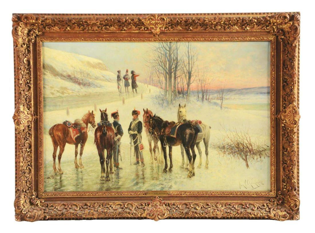 "Jan Chełmiński (1851-1925) ""Epizod z wojen napoleońskich"", źródło: Morphy Auctions"