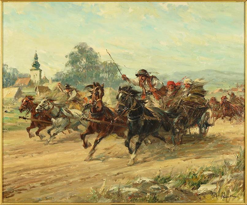 """Władysław Chmieliński """"Pędem do miasta"""", źródło: Susanin's Auctions"""