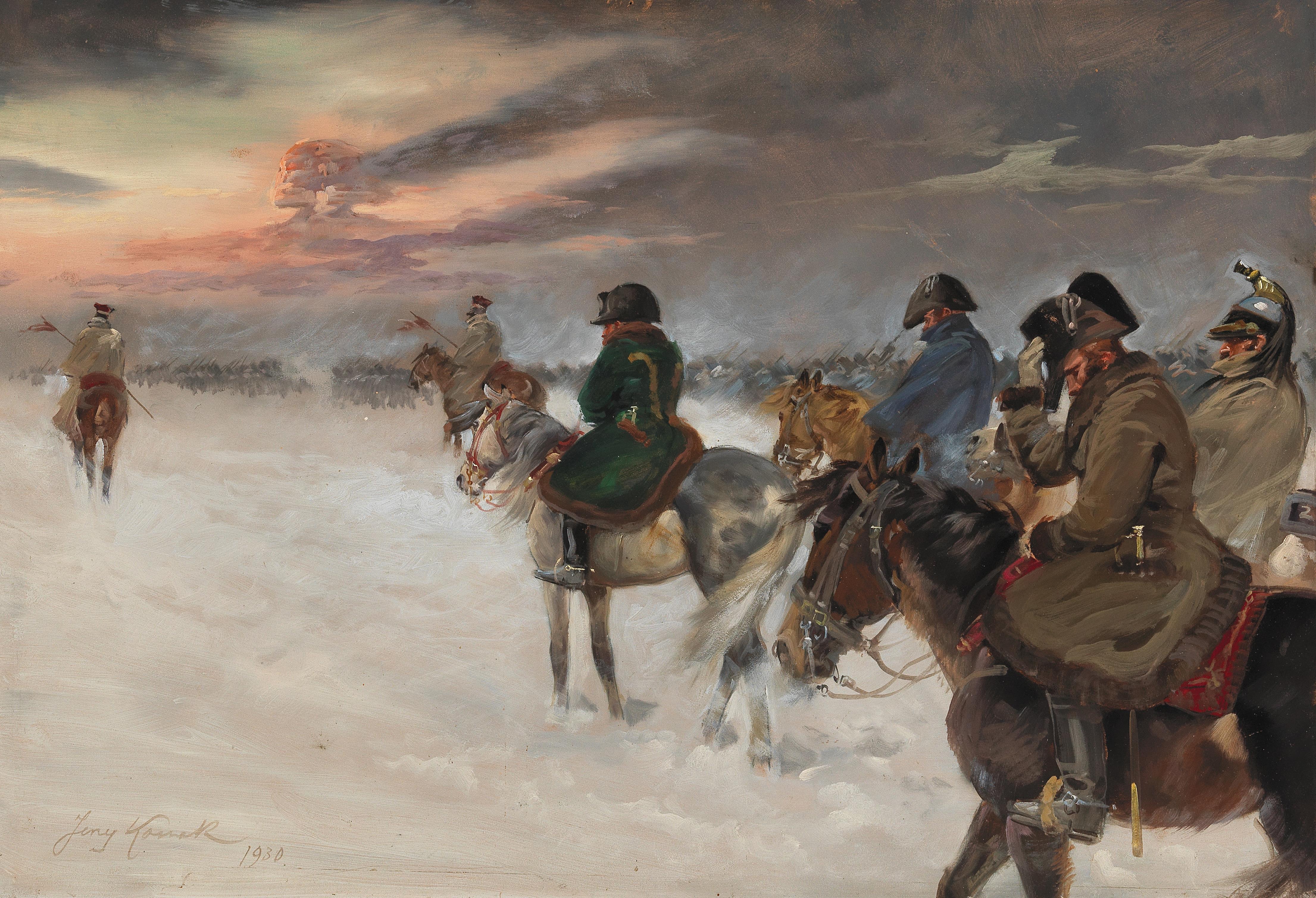 """Jerzy Kossak (1886-1955) """"Wizja Napoleona w czasie odwrotu spod Moskwy"""", źródło: Dorotheum"""
