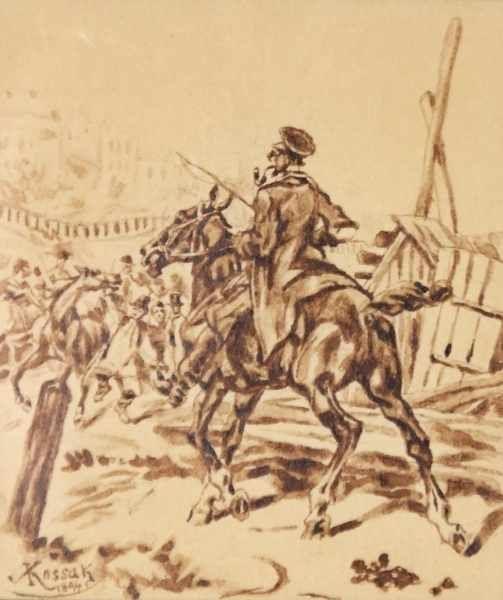 """Juliusz Kossak (1824-1899) """"Kozacki jeździec"""", źródło: Auktionshaus Karrenbauer"""