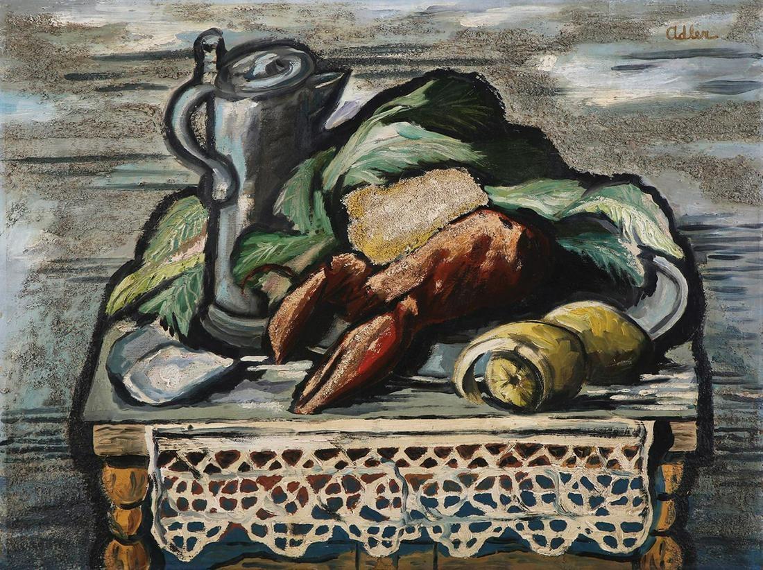 "Jankiel Adler (1895-1949) ""Martwa natura z krabem"", źródło: Tiroche Auction House"