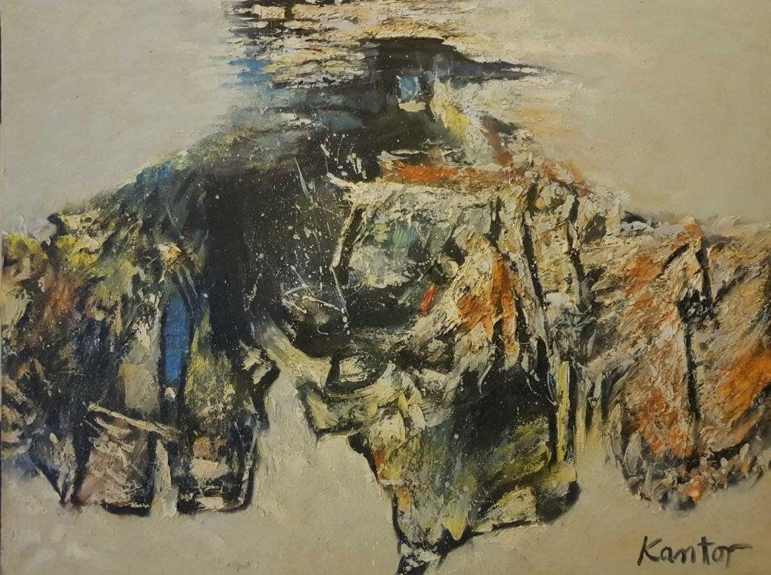 """Tadeusz Kantor (1915-1990) """"Kompozycja (Informel?)"""", źródło: Andrew Auctions"""