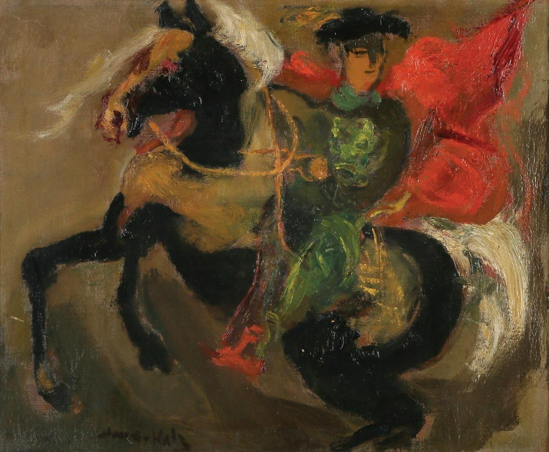 """Emmanuel (zw. Mané-Katz) Katz (1894 - 1962) """"Jeździec"""", źródło: Tiroche Auction House"""