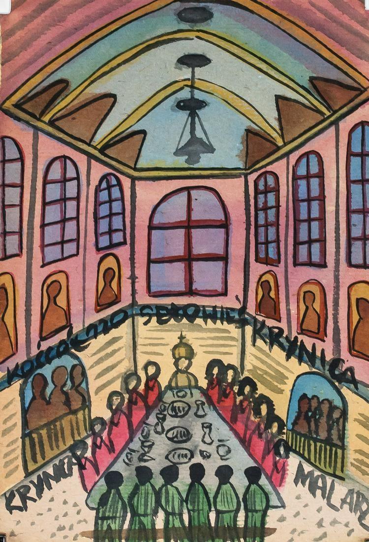"""Nikifor (1895-1968) """"Wieczerza w świątyni"""", źródło: 888 Auction"""