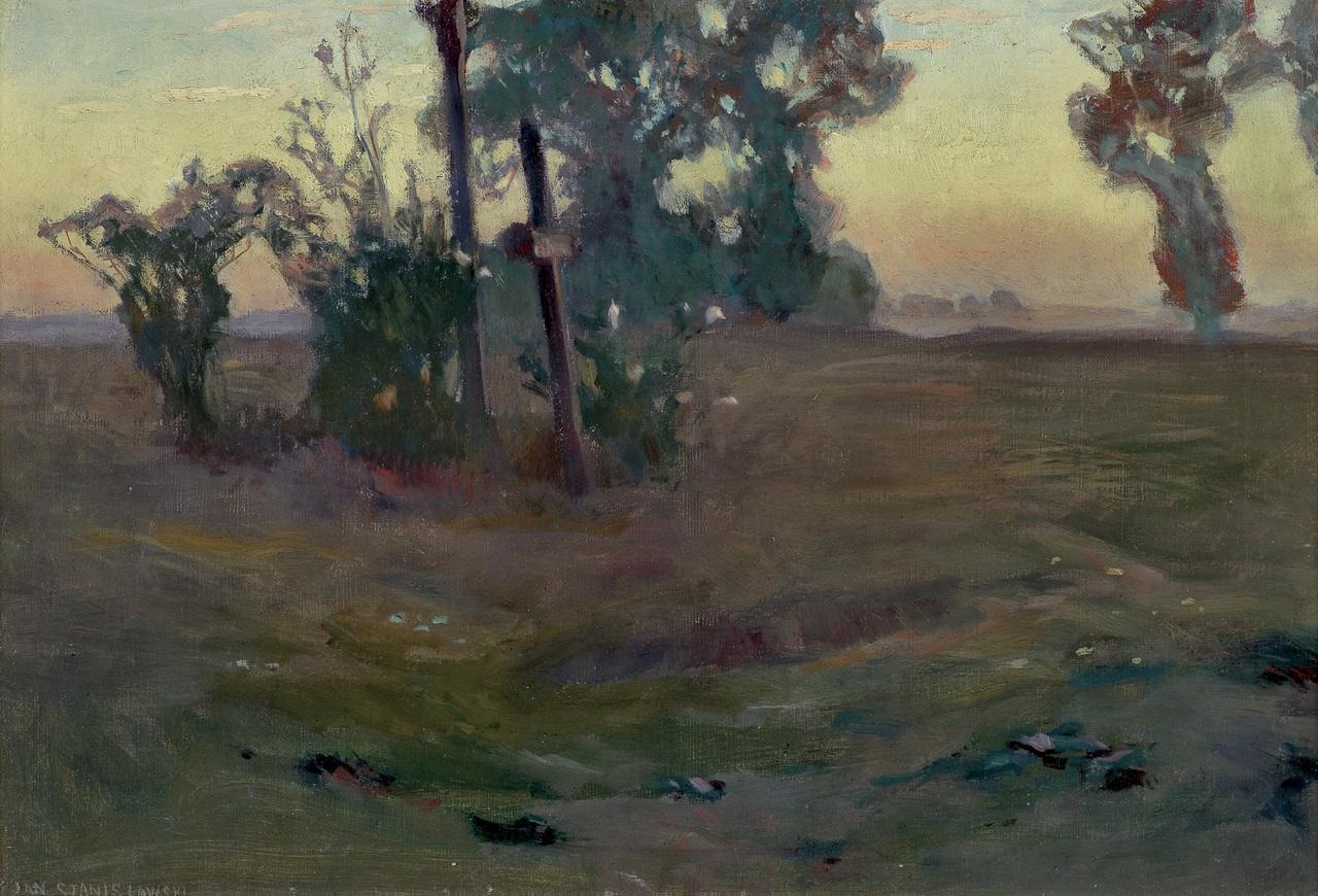 """Jan Stanisławski """"Krajobraz o zmierzchu"""", 1897 rok, źródło: Agra-Art"""