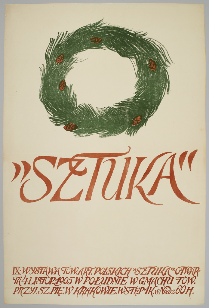 """Jan Stanisławski, plakat """"IX Wystawa Towarzystwa Artystów Polskich Sztuka"""", 1905 rok, źródło: Muzeum Narodowe w Krakowie"""