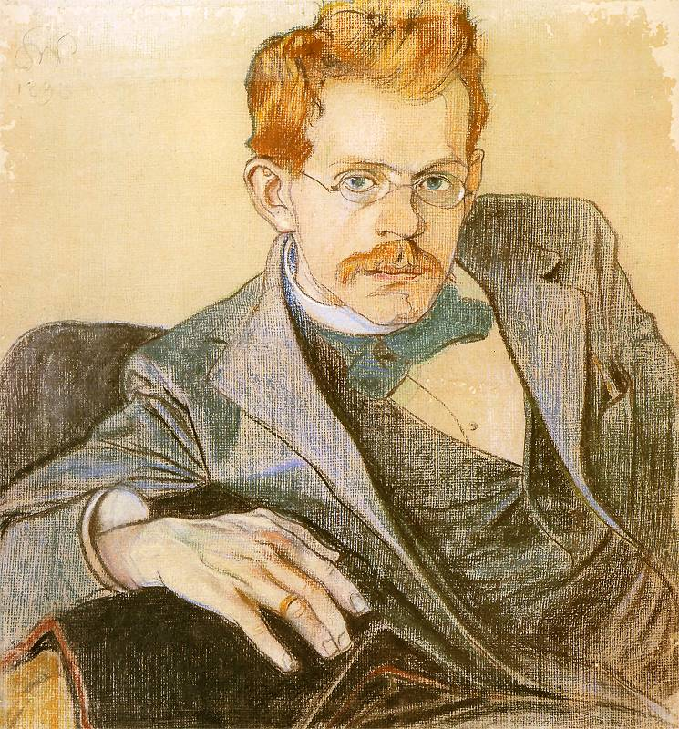 """Stanisław Wyspiański """"Portret Józefa Mehoffera"""", 1898 rok, źródło: Muzeum Narodowe w Poznaniu"""