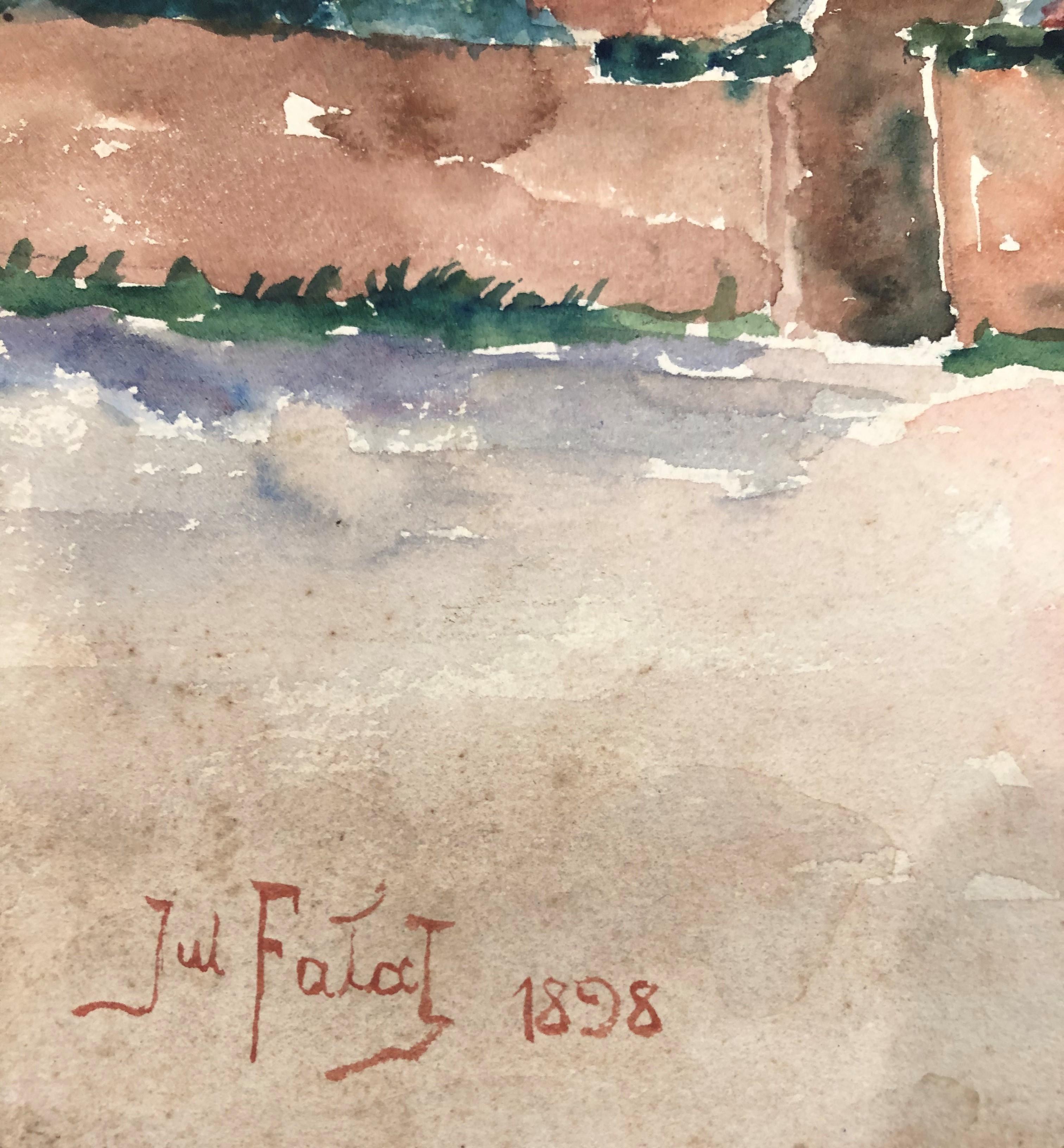 "Julian Fałat (1853-1929) ""Zabudowania"", źródło: Coral Gables Auction"