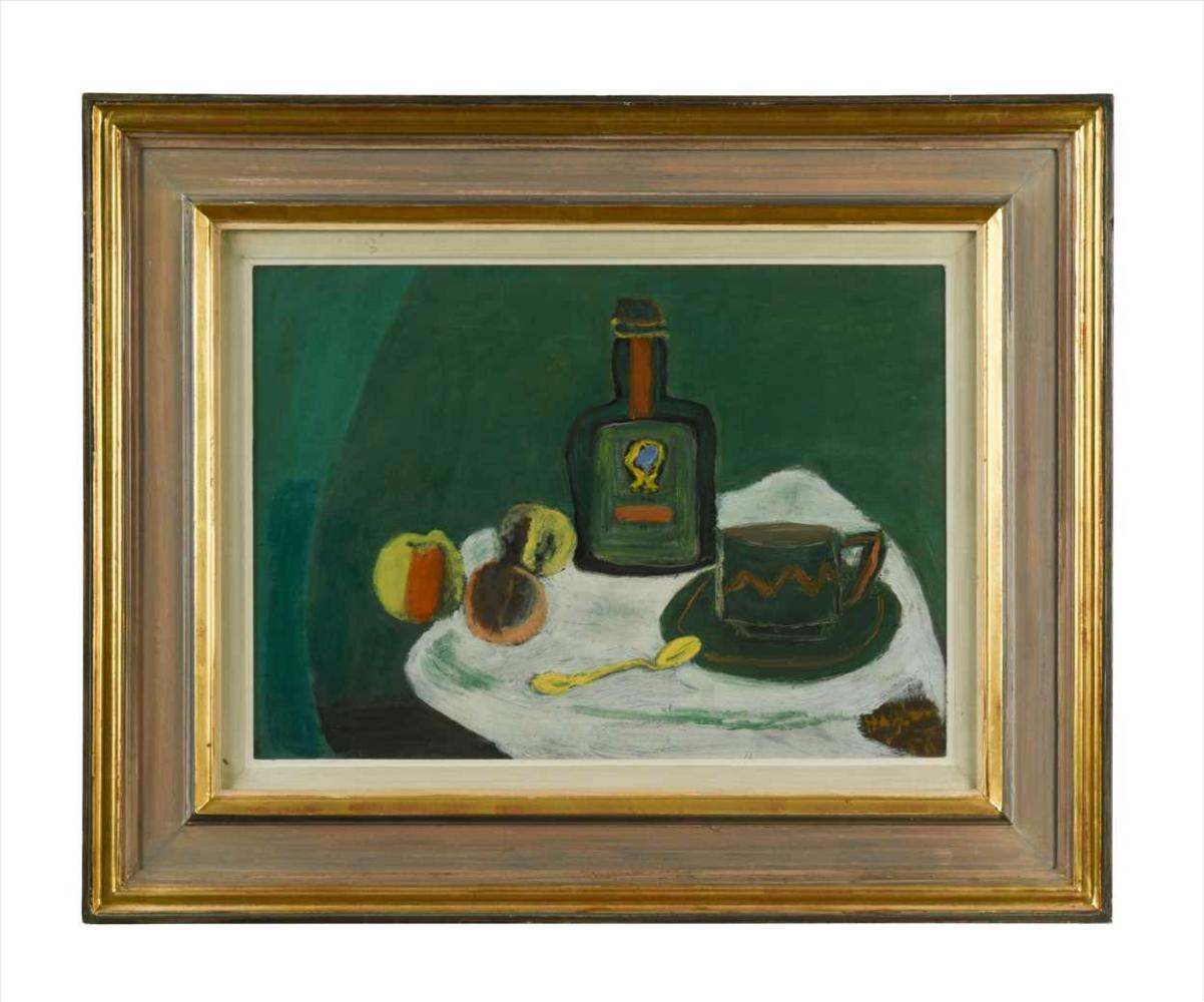 "Henryk Hayden (1883-1970) ""Martwa natura z butelką i jabłkami"", źródło: Cheffins"