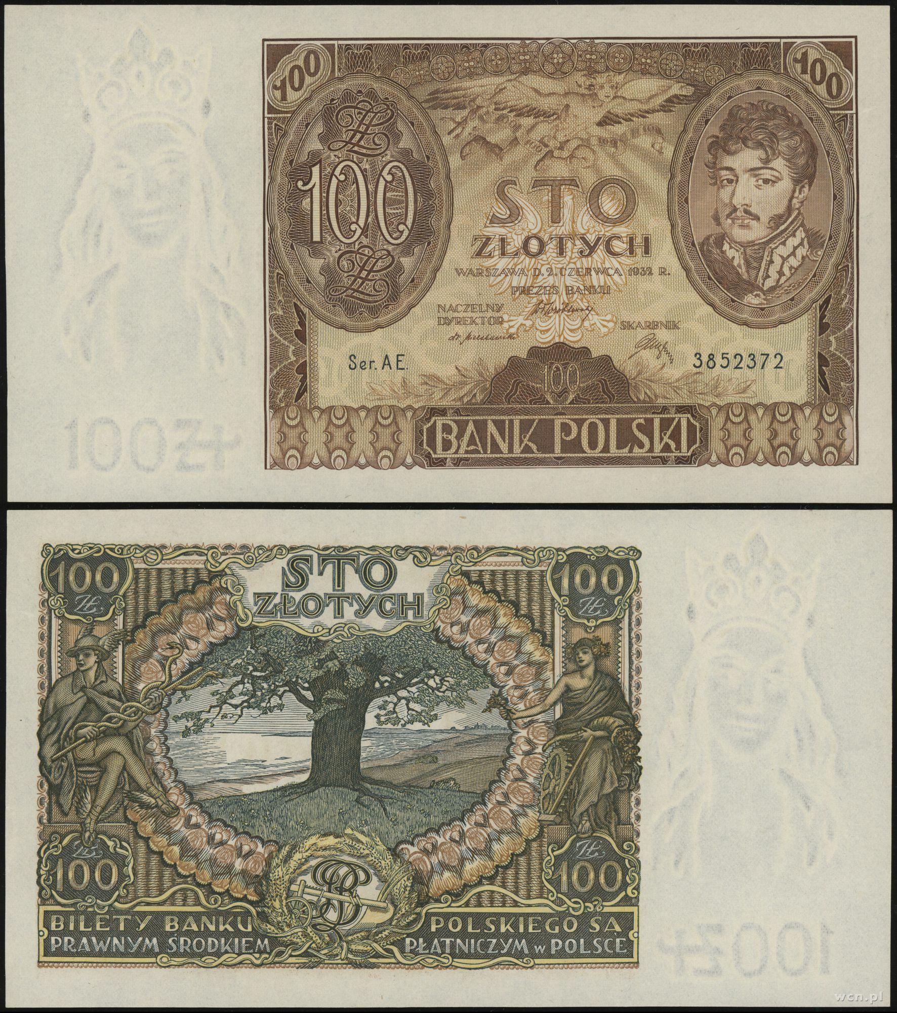 Zaprojektowany przez Józefa Mehoffera banknot stuzłotowy, źródło: Warszawskie Centrum Numizmatyczne