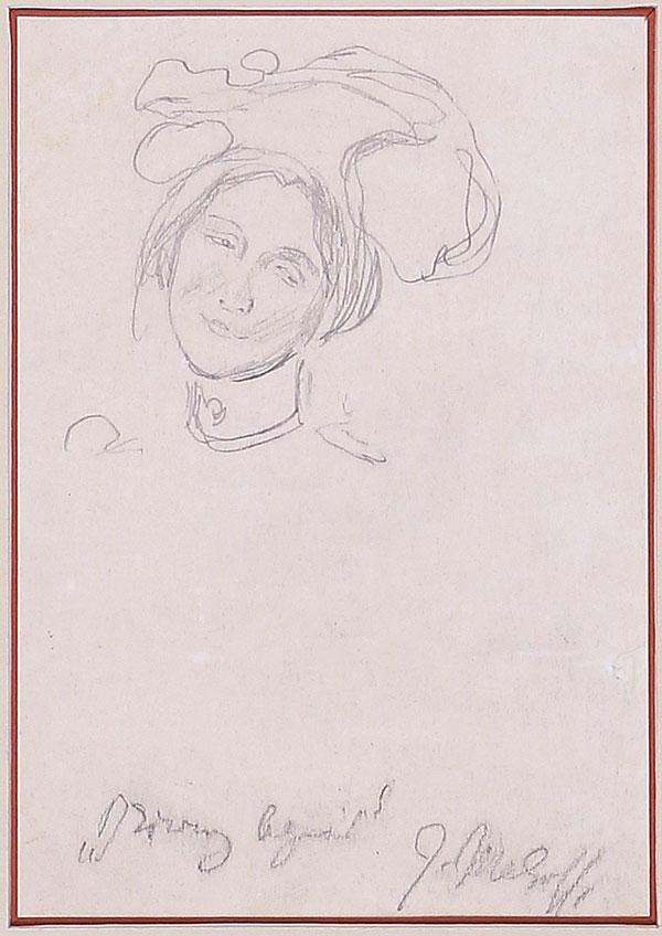 """Józef Mehoffer """"Studium żony- Dziwny Ogród"""", przed 1903 rokiem, źródło: Salon Dzieł Sztuki Connaisseur"""