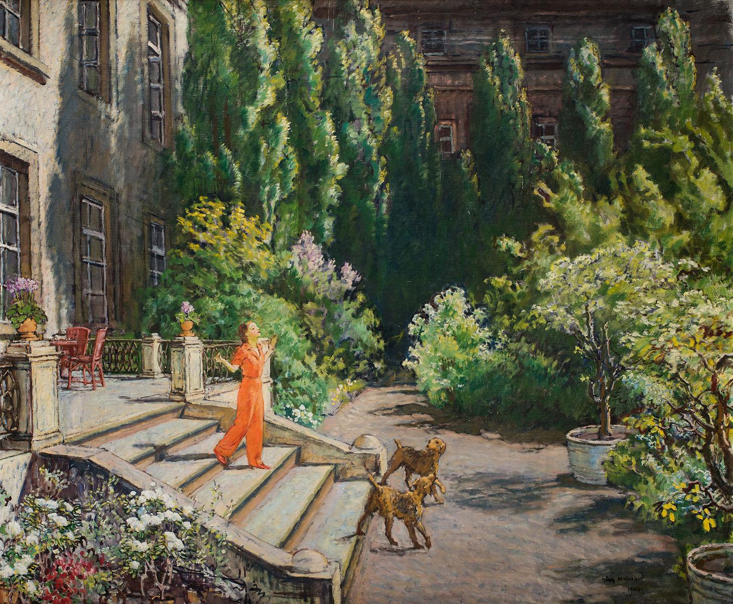 """Józef Mehoffer """"Przed domem (przy ul. Krupniczej w Krakowie)"""", 1946 rok, źródło: Polswiss Art"""