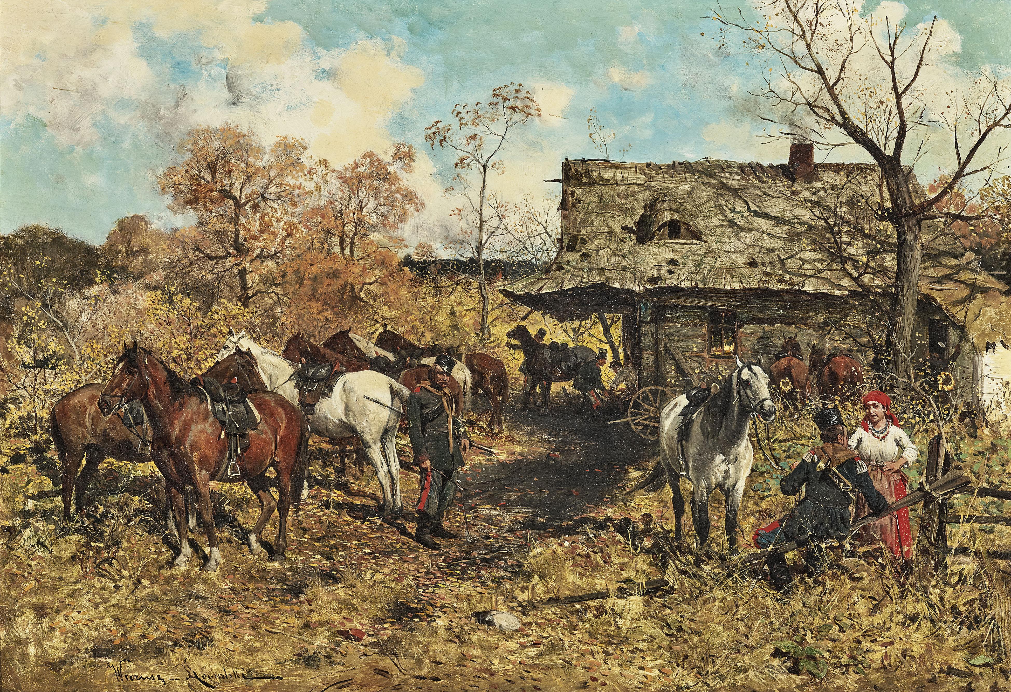"""Alfred Wierusz Kowalski (1849-1915) """"Odpoczynek żołnierzy"""", źródło: Neumeister"""