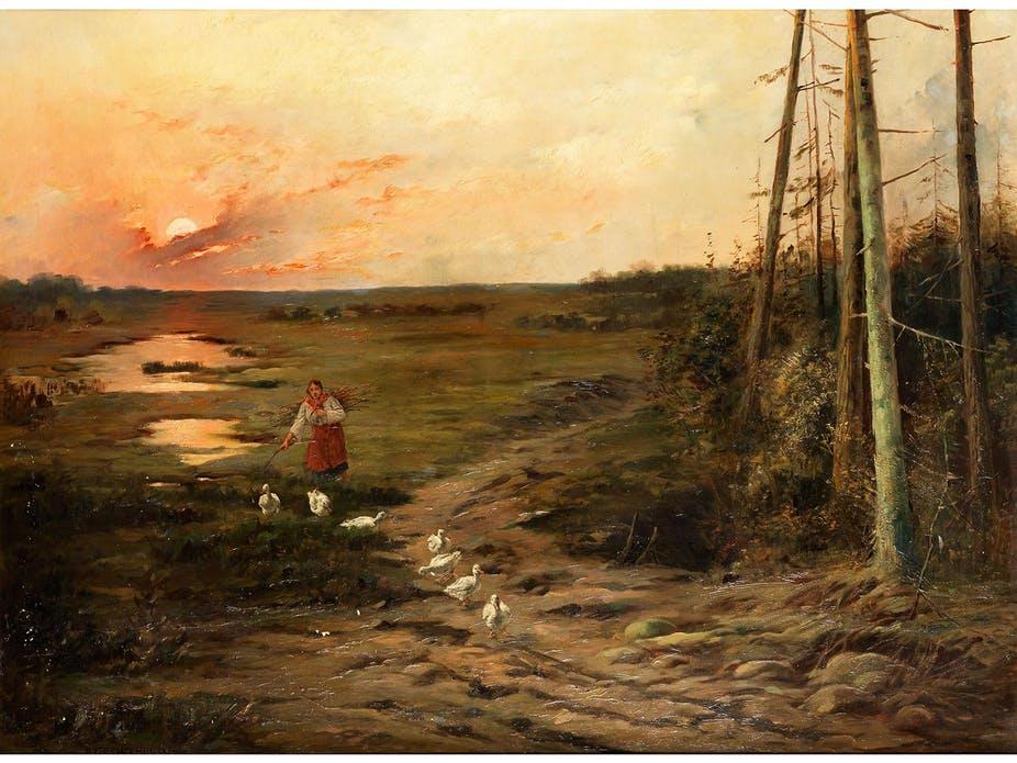 """Józef Chełmoński (1849-1914) """"Gęsiarka o zachodzie słońca"""", źródło: Hampel Auktionen"""
