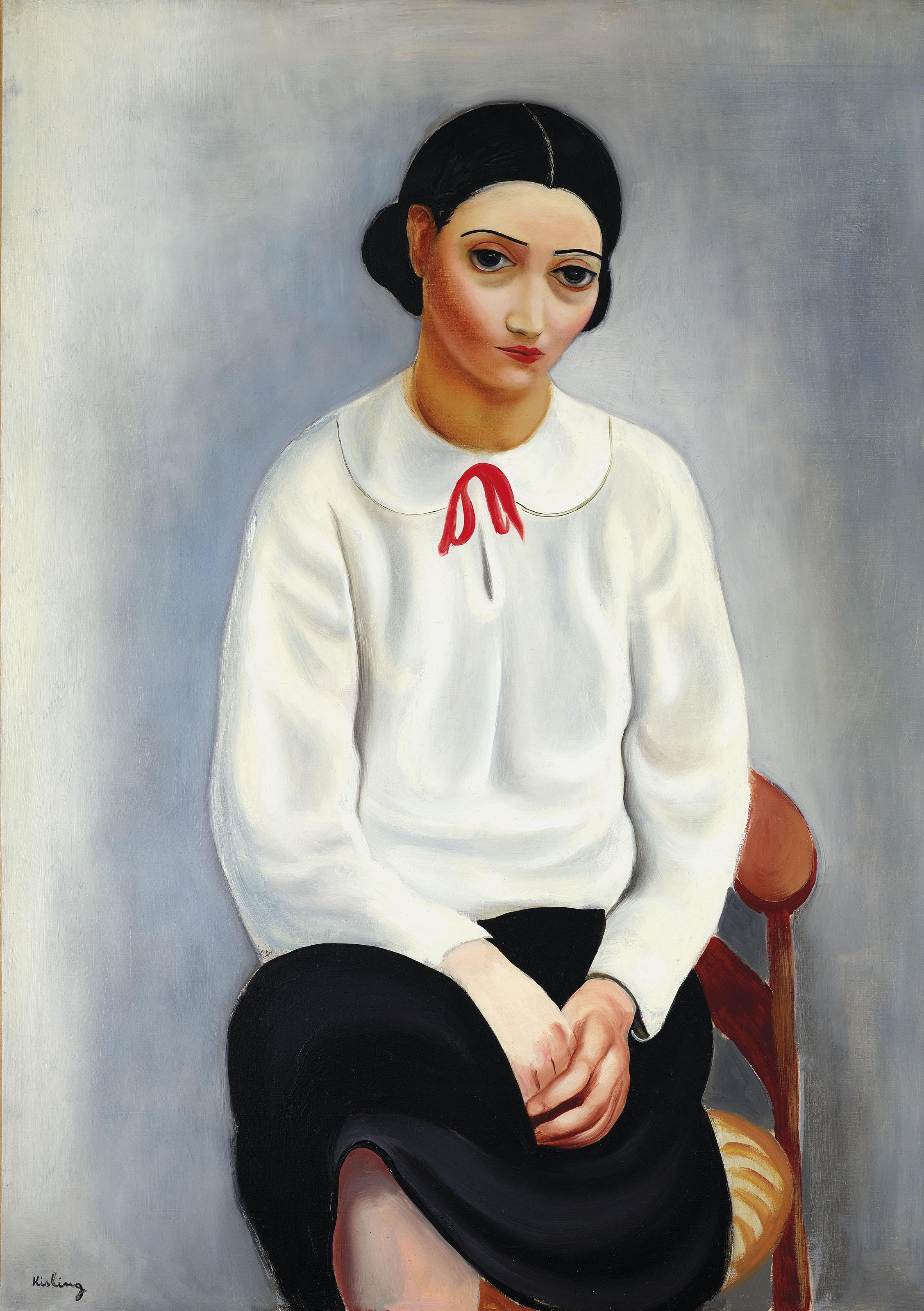 """Mojżesz Kisling (1891-1953) """"Kobieta w białej koszuli"""", źródło: Christie's"""