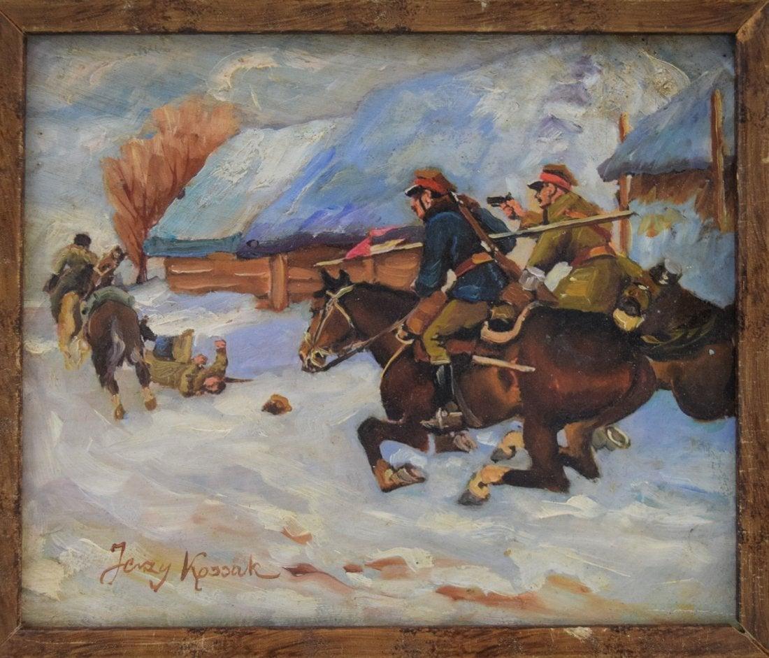 """Jerzy Kossak (1886-1955) """"Pościg ułanów za bolszewikami"""", źródło: Black River Auction"""