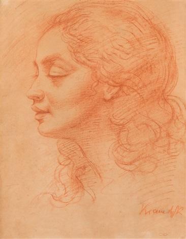 "Roman Kramsztyk (1885-1942) ""Portret kobiety (Carlotta Bologna?)"", źródło: artnet.com"