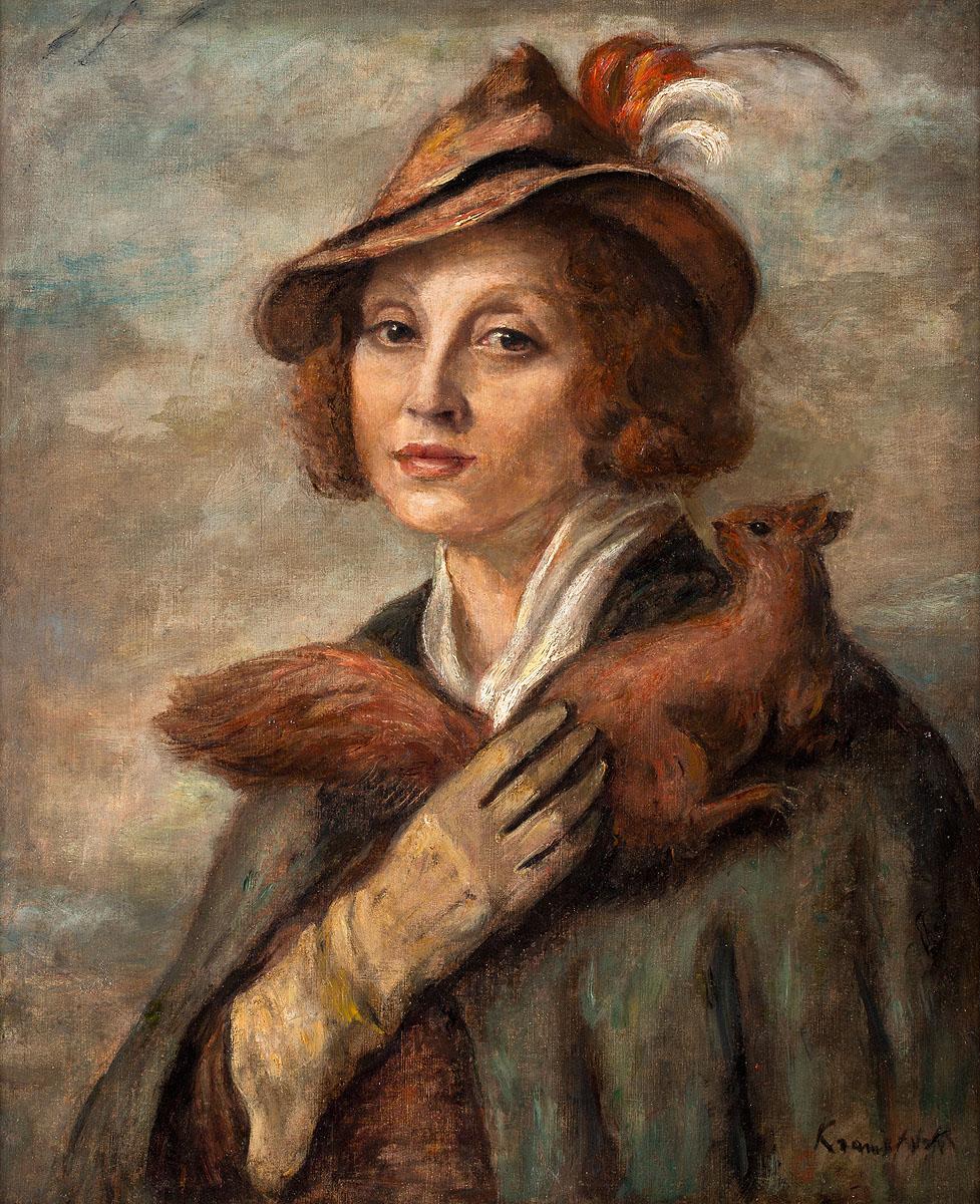 """Roman Kramsztyk (1885-1942) """"Dama z wiewiórką. Portret Marii Brydzińskiej"""", źródło: Polswiss Art"""