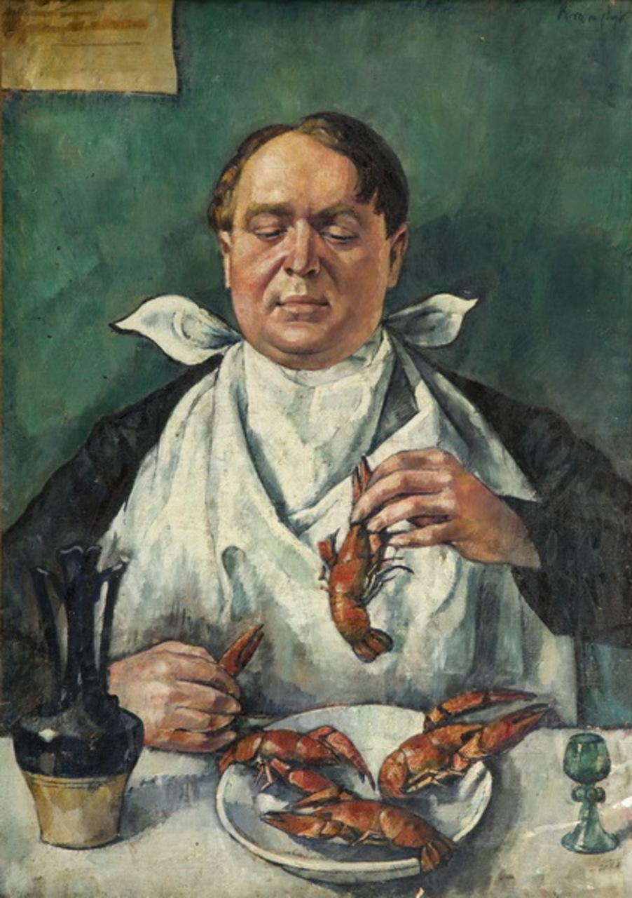 """Roman Kramsztyk (1885-1942) """"Jedzący raki (Portret Karola Szustra)"""", ok. 1918-1919 roku, źródło: Desa Unicum"""