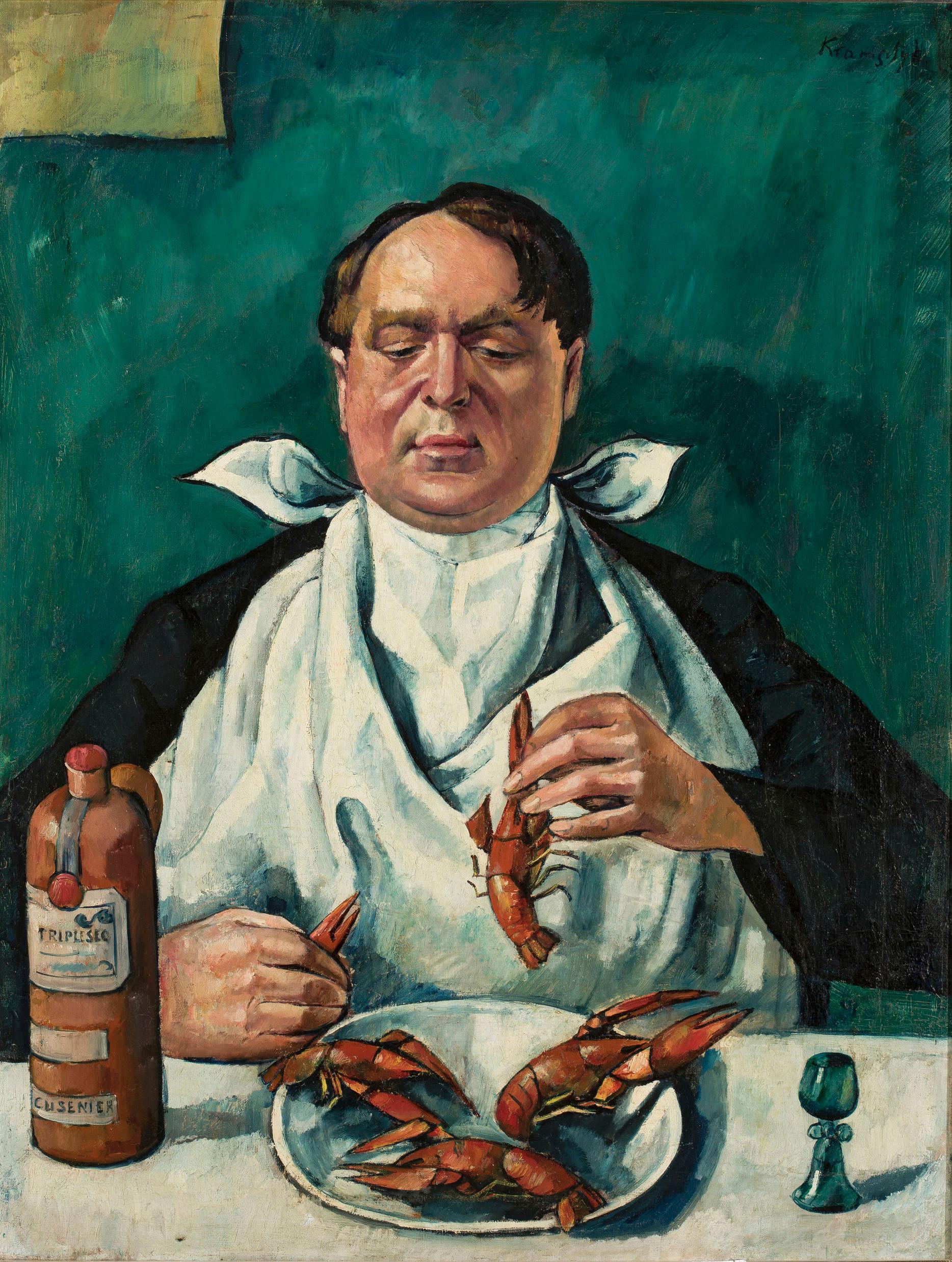 """Roman Kramsztyk (1885-1942) """"Mężczyzna jedzący raki (Portret Karola Szustra)"""", ok. 1919 rok, źródło: Muzeum Narodowe w Warszawie"""