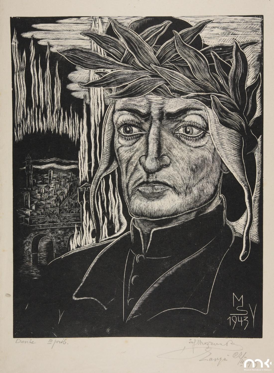 """Odbitka drzeworytu Stefana Mrożewskiego """"Dante Alighieri"""", 1943 rok, stan 3, źródło: Muzeum Narodowe w Kielcach"""