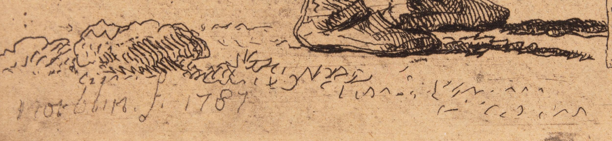 """Oznaczenie literowe """"f"""" (""""fecit"""") na płycie przy sygnaturze Jana Piotra Norblina, źródło: Salon Dzieł Sztuki Connaisseur"""