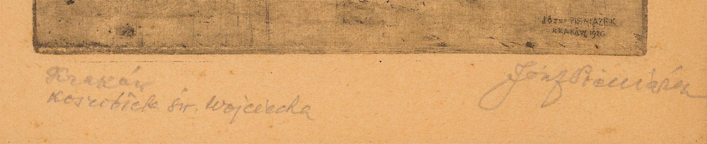 Sygnatura Józefa Pieniążka na płycie oraz odręczna, wykonana ołówkiem poniżej kompozycji, źródło: Salon Dzieł Sztuki Connaisseur