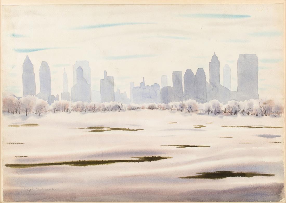 """Rafał Malczewski (1892-1965) """"Zimowy widok Montrealu"""", źródło: Shapiro Auctions"""