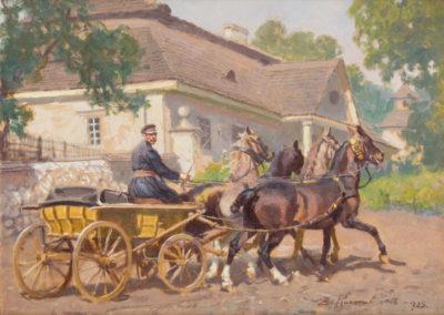 """Zygmunt Rozwadowski (1870-1950) """"Dorożka"""", źródło: Polswiss Art"""