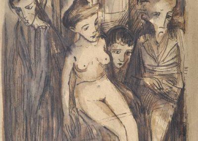 """Bruno Schulz (1892-1942) """"Na balkonie"""", źródło: Dresdener Kunstauktionshaus Günther"""