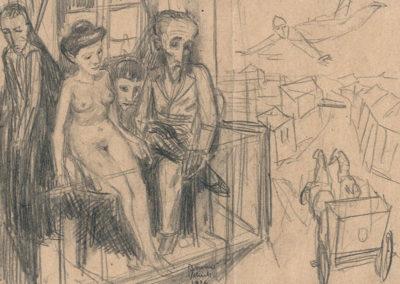 """Bruno Schulz (1892-1942) """"Na balkonie ganku"""", źródło: Muzeum Literatury w Warszawie"""