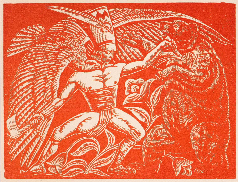 """Drzeworyt autorstwa Władysława Skoczylasa """"Walka z niedźwiedziem"""" odbity czerwoną farbą, 1923 rok, źródło: sztukanaprezent.pl"""
