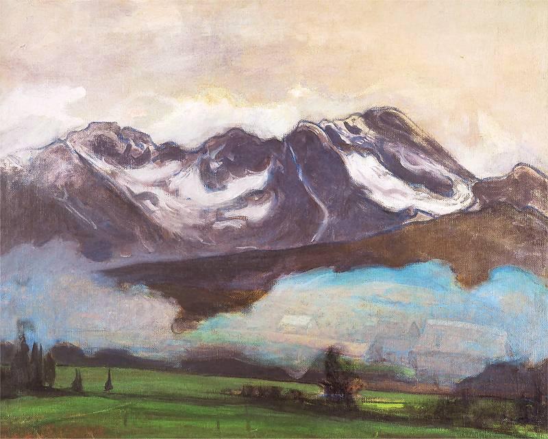 """Władysław Ślewiński (1856-1918) """"Fioletowe góry, ośnieżone szczyty, zielona kotlina w Tatrach"""", 1906 rok, źródło: Biblioteka Polska w Paryżu"""