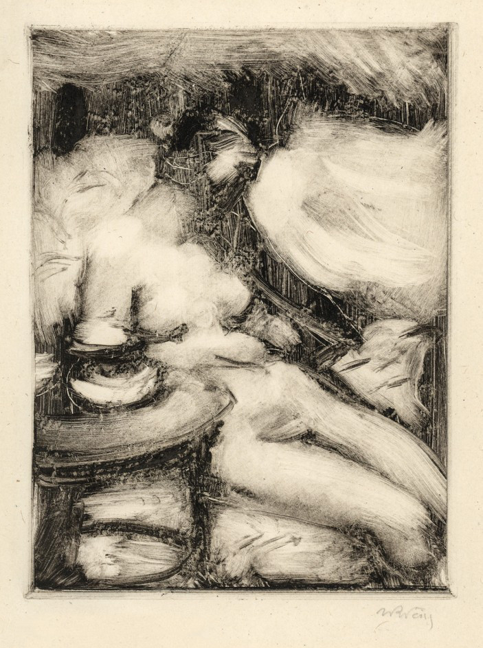 """Monotypia autorstwa Wojciecha Weissa """"Akt siedzącej"""", około 1930 roku, źródło: Galeria Nautilus"""