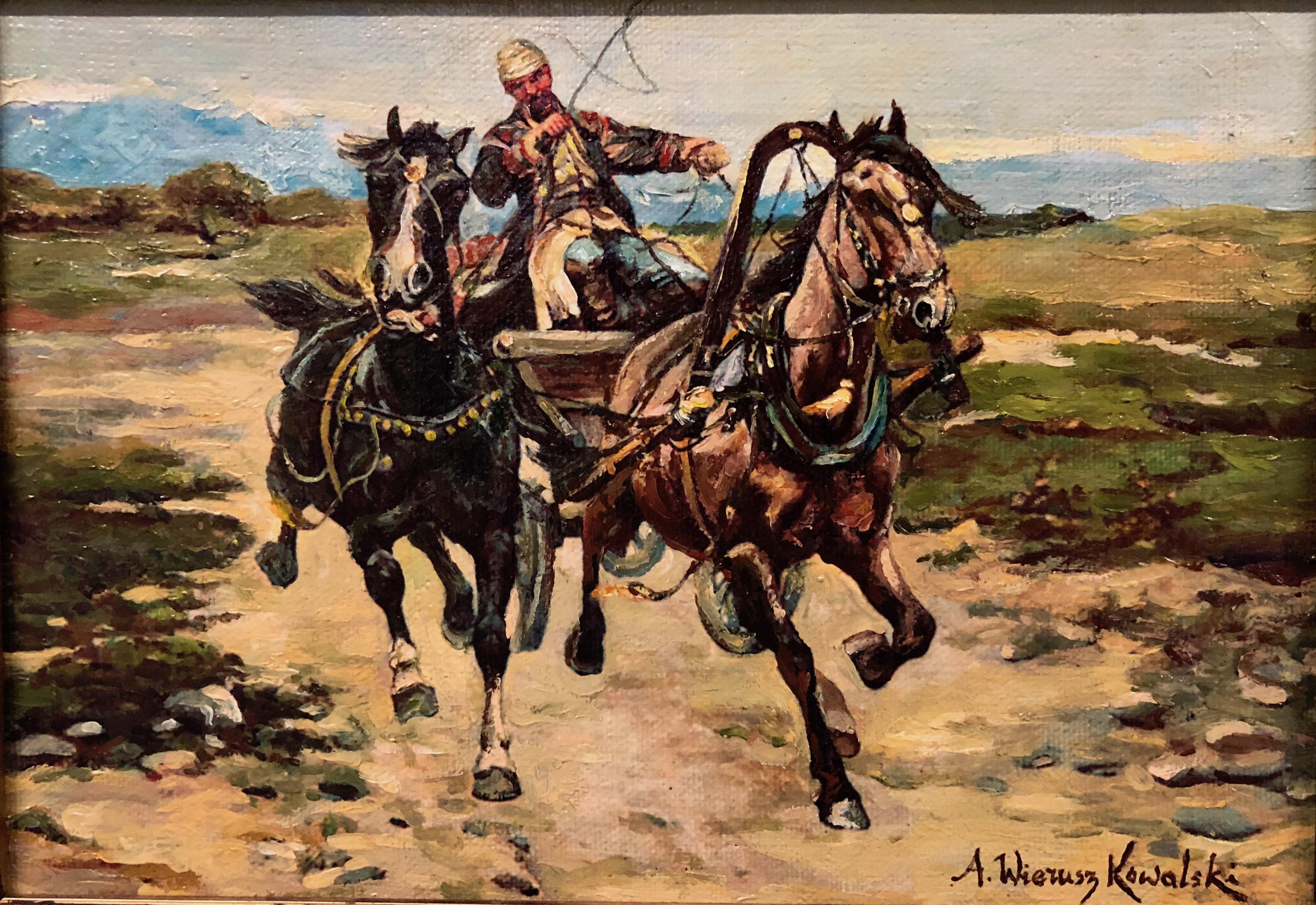 """Alfred Wierusz Kowalski (1849-1915) """"Dwukonna bryczka"""", źródło: Kensington Estate Auction"""