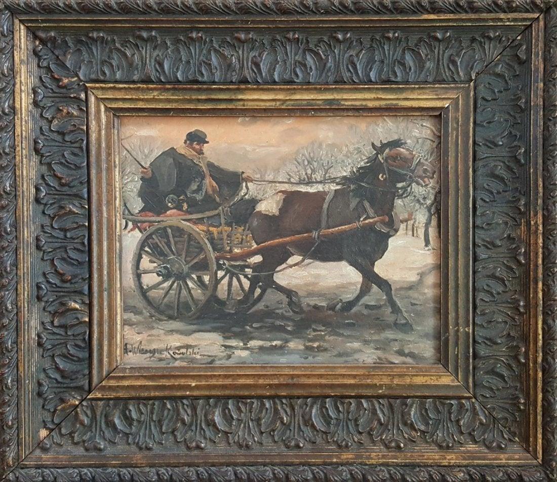 """Alfred Wierusz Kowalski (1849-1915) """"Pocztylion"""", źródło: Richard Weinberg Auctioneers"""
