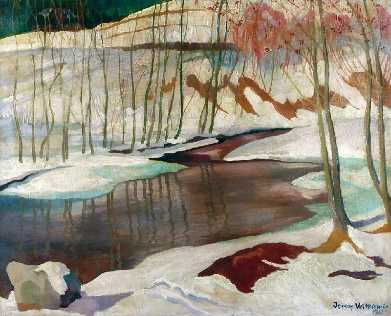 """Stanisław Ignacy Witkiewicz (1885-1939) """"Pejzaż zimowy (Zakopane)"""", 1913 rok, źródło: Rempex"""